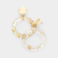 Hammered Round disc Sprinkled Gold Lucite Hoop Link Earrings