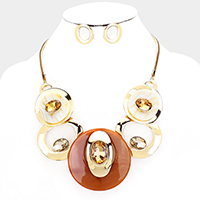 Celluloid Acetate Glass Stone Metal Statement Necklace