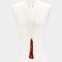 Bead Accented Gold Metallic Leatherette Tassel Necklace