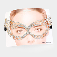 Crystal Rhinestone Pave Cat Eyes Marquise Mask