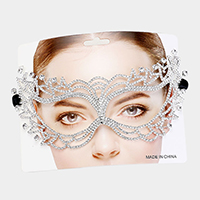 Round Crystal Custer Rhinestone Cat Eyes Marquise Mask