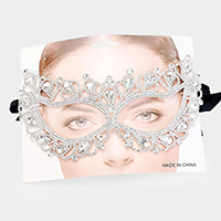 Teardrop Crystal Rhinestone Pave Cat Eyes Marquise Mask
