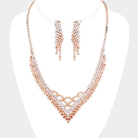 Crystal Rhinestone Pave V Necklace