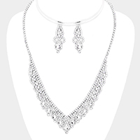 Teardrop Crystal Rhinestone Pave V Necklace