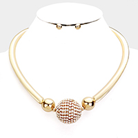 Crystal Embellished Ball Metal Choker Necklace