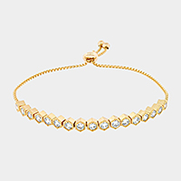 Hexagon Zirconia Adjustable Evening Bracelet
