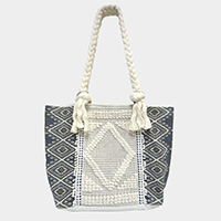 Cable Detailed  Diamond Sweater Shoulder Tote Bag