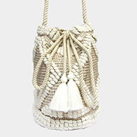 Cable Detailed Sweater Bucket Bag
