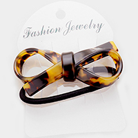 Tortoise Bow Accented Stretch Hairband