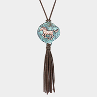 Natural Stone Horse Suede Tassel Necklace