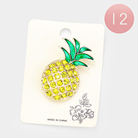 12 PCS Stone Embellished Pineapple Pin Brooches