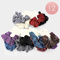 12 Set of 2 - Shimmery Textured Scrunchie Hair Bands
