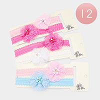 12 Set of 2 - Crystal Floral Mesh Stretch Headbands