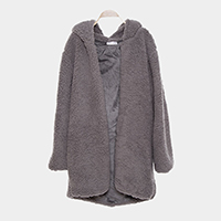 Zip Up Fleece Pockets Hoodie Poncho
