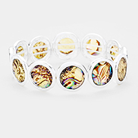 Abstract Round  Natural Stone Stretch Bracelet