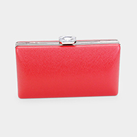Rectangle Crystal Clasp Crossbody Clutch Bag