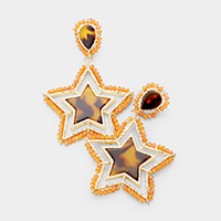 Celluloid Acetate Star Bead Wrapped Dangle Earrings