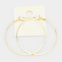 14K Gold Dipped Hypoallergenic Metal Hoop Earrings