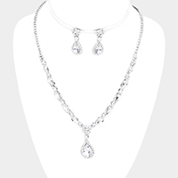 Crystal Teardrop Floral Rhinestone Pave Necklace