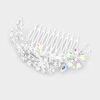 Pave Rhinestone Flower & Leaf Hair Comb