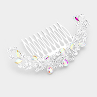 Pave Rhinestone Floral Hair Comb