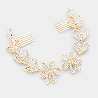Crystal Round Accented Flower Leaf Cluster Hair Comb
