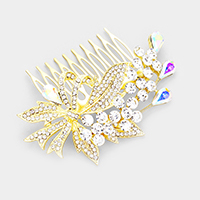 Pave Rhinestone Bow Flower Hair Comb