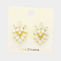 Cubic Zirconia Crystal Oval Floral Stud Earrings
