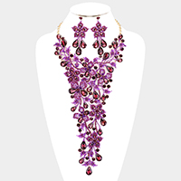 Crystal Teardrop Floral Leaf Vine Evening Necklace