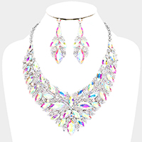 Oval Leaf Vine Collar Evening Necklace