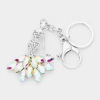 Oval Crystal Rhinestone Pave Mermaid Key chain