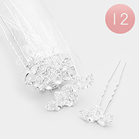12PCS - Crystal Bow Mini Hair Comb Pins