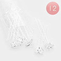 12PCS - Crystal Heart Mini Hair Comb Pins