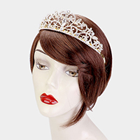 Oval Crystal Rhinestone Pave Floral Leaf Queen Tiara