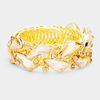 Marquise Crystal Accented Cuff Evening Bracelet