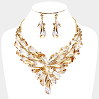Geometric Crystal Cluster Collar Evening Necklace