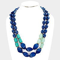 Double Layered Abstract Beaded Necklace