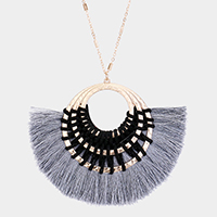 Fan Tassel Hammered Metal Hoop Pendant Necklace