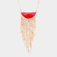 Half Circle Natural Stone Chain Tassel Necklace