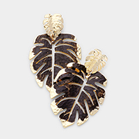 Double Metal Tropical Leaf Dangle Earrings