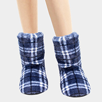 Plaid Puffy Indoor Bootie Slippers