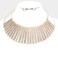 Crystal Embellished Armor Collar Choker Necklace