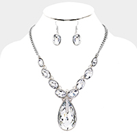 Teardrop Crystal Statement Necklace