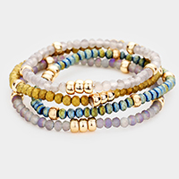 4PCS - Multi Glass Beaded Stackable Stretchable Bracelets