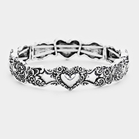 Heart Designer Look Metal Stretch Bracelet