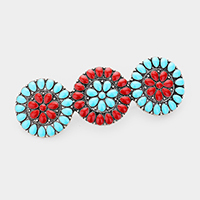 Triple Tribal Enamel Round Barrette