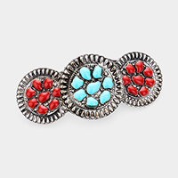 Triple Tribal Enamel Accented Barrette