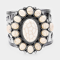Howlite Tribal Textured Metal Cuff Bracelet