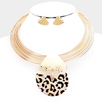 Enamel Animal Print Pendant Multi Strand Choker Necklace