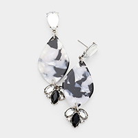 Crystal Celluloid Acetate Marquise Earrings